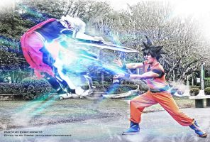 Assasin cross vs Son Goku ka-me-ha-me-ha by jeffbedash325