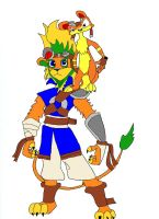 Anthro Jak lion with Daxter by wolfcub