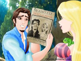 Wanted : Flynn and Rapunzel by rebenke