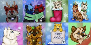 Winter/Christmas Pups Badges ( ALL SOLD) by NatsumeWolf