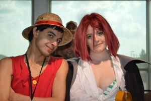 shanks and luffy at soonercon by shikamaruluffy