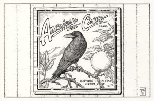 Inktober #29 American Crow Orange Crate Label by ColbyBluth
