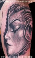 mecha girl tattoo by me by wolfbainx