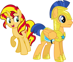 Request - Sunset Shimmer and Flash Sentry by Givralix