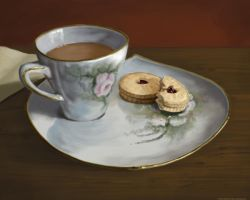 Tea and Jammie Dodgers by DianetheKraus