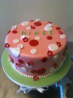 Polka Dot and Flower Cake by Spudnuts