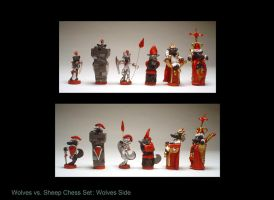 Wolves vs. Sheep chess set II by sculptwerks
