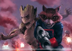 Groot x Rocket Raccoon by ellinsworth