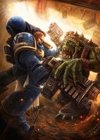 Warhammer 40k Space Marine vs Ork by Jamienobes