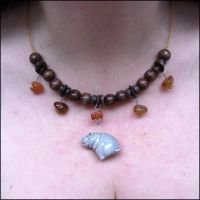 Wood and Stone Hippo Necklace by Hippopottermiss