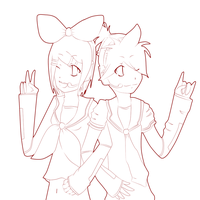 Rin and Len Kagamine WIP by Akima-Loree