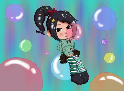 Vanellope and Bubbles by 13Black-Queen-Star13