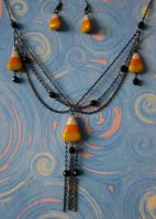 Candy corn necklace set by carmendee