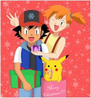 Ash and Misty-Merry Christmas by Ukyo-Ku