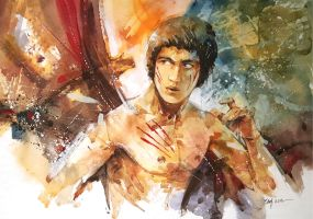 Bruce Lee - Watercolour Painting by Abstractmusiq