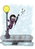 Singing in the rain by MentaGranizada