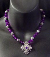 Purple Gothic Cross Necklace by MorganCrone