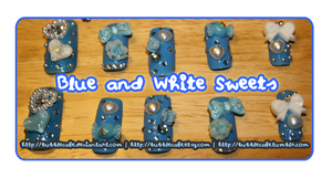 Blue and White Sweet Nails by BubbleCafe