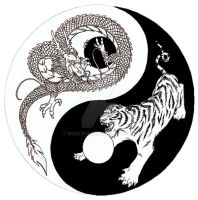 Dragon Tiger Yin Yang sketch by donle83