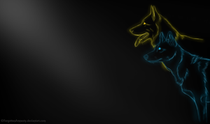 GSD and Husky Wallpaper by ForgottenAmnesty