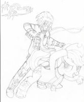 Applejack and Chrome Bullet Winter (Sketch) by PiplupSTARSCommander