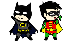 Chibi Batman and Robin by No-Aengel