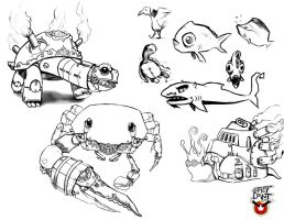 Steam Creature Sketches by SpicyDonut