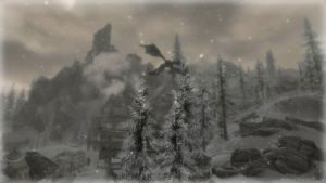 Dragon over Dawnstar by Solace-Grace