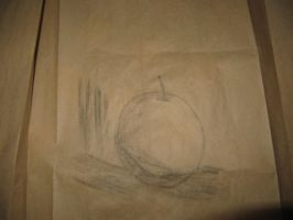 Apple drawing...thing using coal because why not by octavariumSK