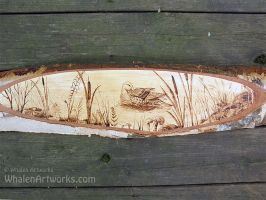 Duck On Pond Wood Burning by WhalenArtworks