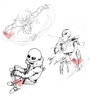 Sans / Error!Sans / Edge - Doodles by Laxianne