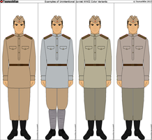 Examples of Soviet WWII Uniform Color Variants by Tounushifan