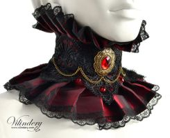Red Vampire Choker with red glass crystals by vilindery