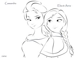 Elsa and Anna of Frozen by cheaterboy-A