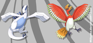 Lugia and Ho-oh by Millyoko