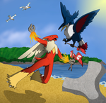 Blaziken vs Honchkrow by jeazard