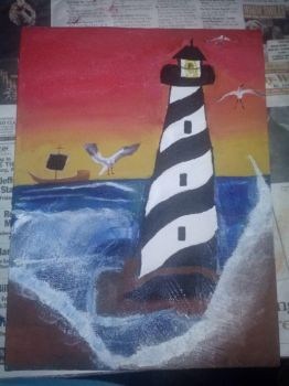 Lighthouse by the Sea by Aubrie2007