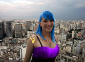 Blue haired Jenna Giantess by OmegaHawke