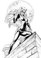 Blackcat On The Prowl - Inks by J-Skipper