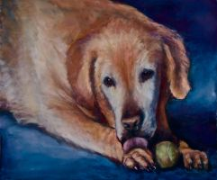 Dog with Ball by Wulff-Arts