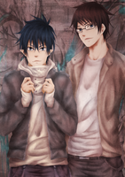Ao no Exorcist: Rin and Yukio by sylwiaiiwo