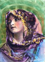 vintage girl with veil by cannibol
