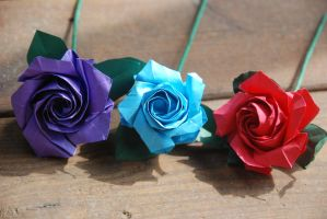 Custom Colors Origami Rose by lisadeng