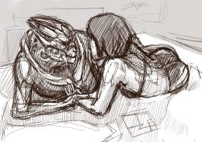 Sketch of Garrus and Roby by Anastasyi