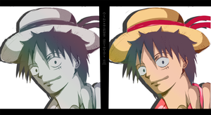Luffy Sketch and Color by Sarah927