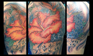 Flower Half Sleeve Tattoo by Metacharis