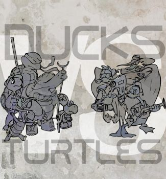 Ducks VS Turtles by letsdrawman