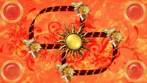 Gold Sun and Deco on Orange by kabegami