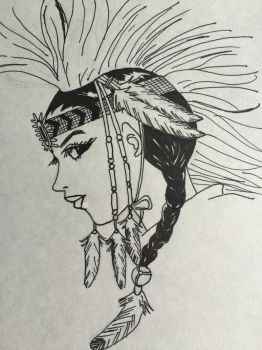 Native American girl by angrybuddhist
