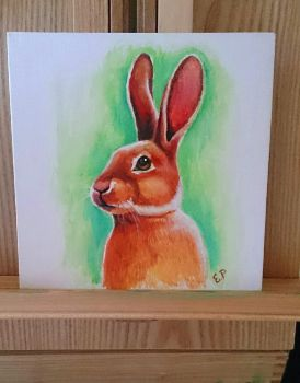 Bunny painted traditionally by EmiliaPaw5